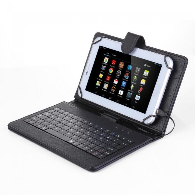 """ПРОМОЦИЯ! Кожен калъф с кирилизирана клавиатура за таблети 7"""" micro USB"""