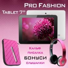 "Tаблет Sanei Pro Fashion Lady - 7"", БОНУСИ - КАЛЪФ + СЛУШАЛКИ - Розови"