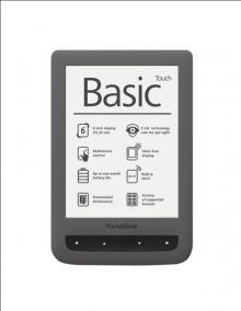"Електронна книга PocketBook Basic Touch PB 624 - 6"", тъмносива"