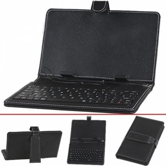 Кожен калъф с клавиатура за таблет 10.1 инча - USB