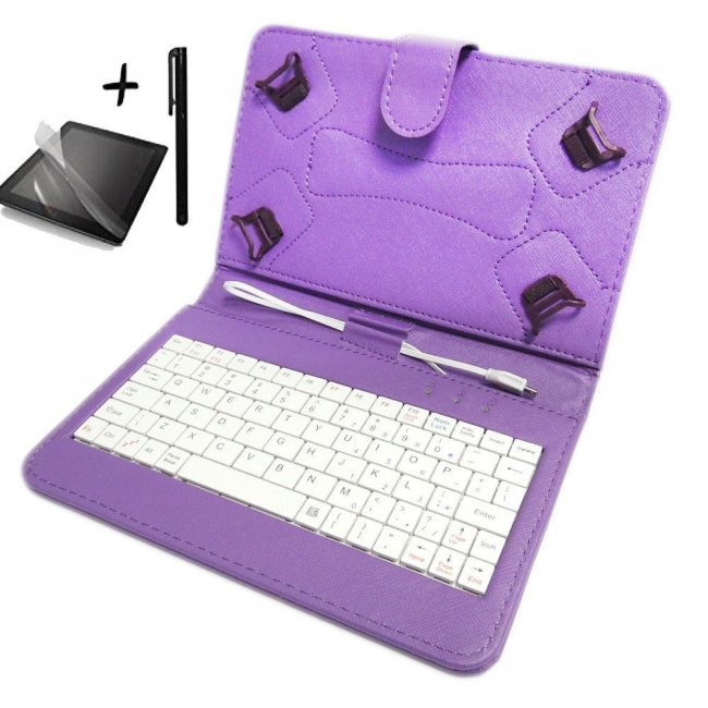 Универсален калъф с клавиатура TabLux 7 и 8 инча, лилава, с протектор и писалка