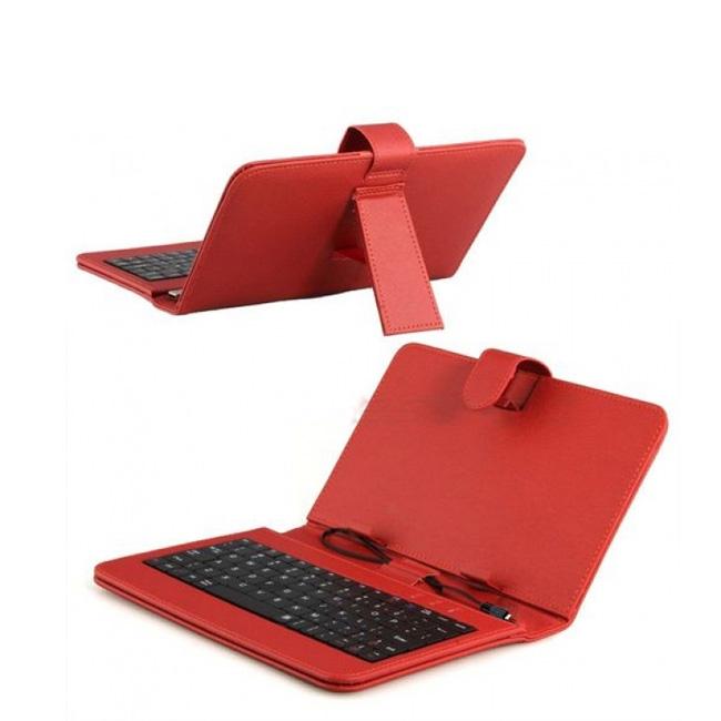 Червен калъф с клавиатура за таблет 7 инча micro USB + подарък ПИСАЛКА