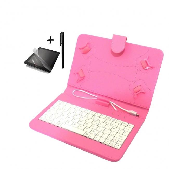 Универсален калъф с клавиатура TabLux 7 и 8 инча, розова, с протектор и писалка