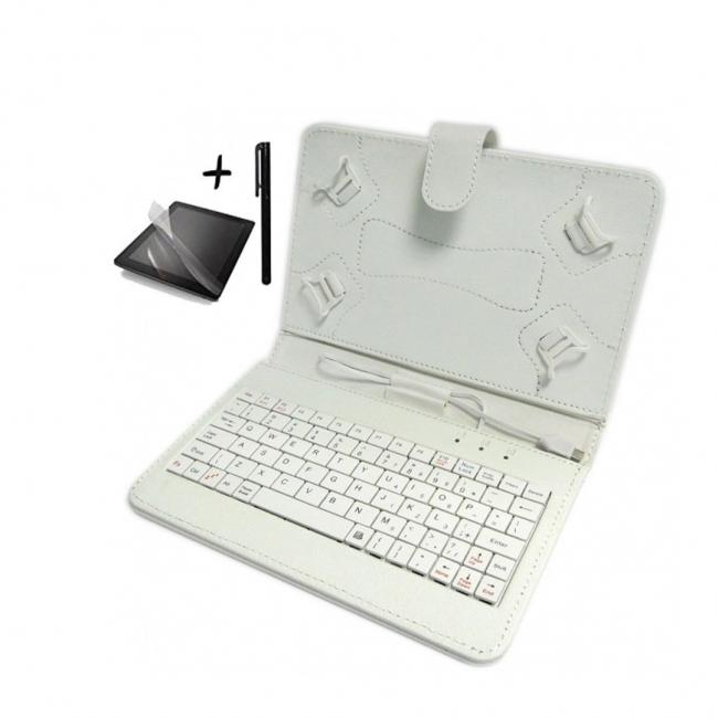 Универсален калъф с клавиатура TabLux 7 и 8 инча, бял, с протектор и писалка