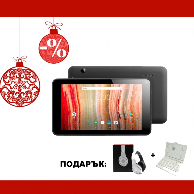 Черен таблет QuadColor Black 7 инча, 8GB с бели клавиатура и слушалки