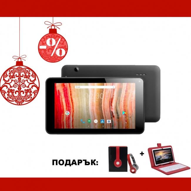 Черен таблет QuadColor Black 7 инча, 8GB с червени клавиатура и слушалки