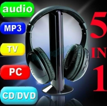 Безжични аудио слушалки 5 in 1, MP3, FM, PC, TV, CD-DVD