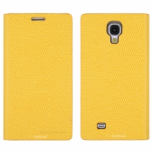 Кожен луксозен калъф за SAMSUNG S4 Жълт тип папка KOMODO