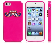 Пластмасов калъф мустаци розов за iPhone 5/5s