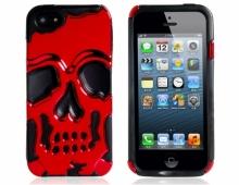 Силиконов калъф с череп - червен - за iPhone 5/5s