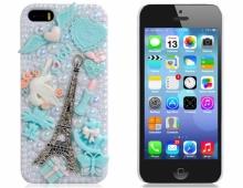 Пластмасов калъф за iPhone 5/5s с камъни Айфелова кула