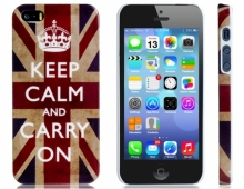 Пластмасов калъф за iPhone 5/5s Keep calm британско знаме
