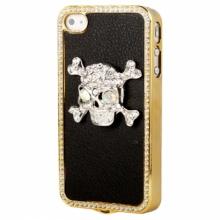 Пластмасов калъф за iPhone 4/4s с череп и камъни
