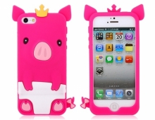 Силиконов калъф ЗА Iphone 5/5S Розово Прасенце