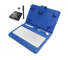Универсален калъф с клавиатура TabLux 7 и 8 инча, синя, с протектор и писалка